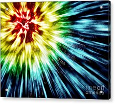 Abstract Dark Tie Dye Acrylic Print by Phil Perkins