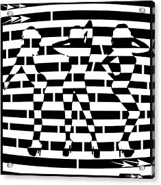Abstract Distortion Dancin Girls Maze  Acrylic Print by Yonatan Frimer Maze Artist