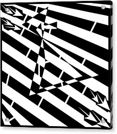 Abstract Distortion Hour-glass Maze  Acrylic Print by Yonatan Frimer Maze Artist