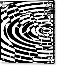 Abstract Distortion Jazz On Saxophone Maze  Acrylic Print by Yonatan Frimer Maze Artist