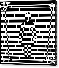 Abstract Distortion Ladies Room Sign Maze Acrylic Print by Yonatan Frimer Maze Artist