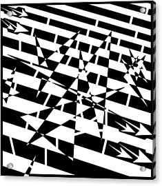 Abstract Distortion Of Weakly Interactive Massive Particles Maze  Acrylic Print by Yonatan Frimer Maze Artist