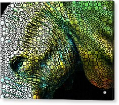 Abstract Elephant - Colorful Stone Rock'd Art By Sharon Cummings Acrylic Print by Sharon Cummings
