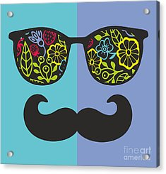 Abstract Face Of Man In Glasses. Vector Acrylic Print
