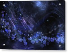 Abstract Fantasy In Black And Blue Acrylic Print by Nika Lerman