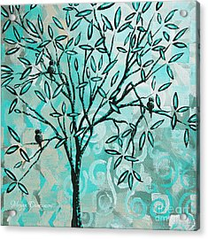 Abstract Floral Birds Landscape Painting Bird Haven II By Megan Duncanson Acrylic Print by Megan Duncanson