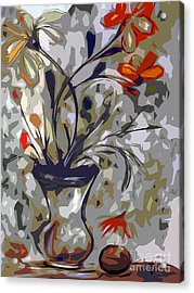 Abstract Floral Still Life Red And Neutral Colors Acrylic Print