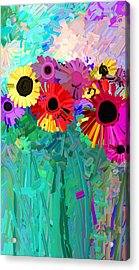 abstract - flowers- Flower Power Four Acrylic Print by Ann Powell