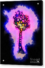 Abstract Glowball Tree Acrylic Print by Pixel Chimp