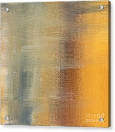 Abstract Golden Yellow Gray Contemporary Trendy Painting Fluid Gold Abstract I By Madart Studios Acrylic Print by Megan Duncanson