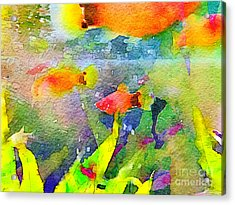 Abstract Goldfish Fish Bowl Aquarium Watercolor 1 Acrylic Print