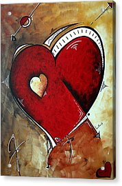 Abstract Heart Original Painting Valentines Day Heart Beat By Madart Acrylic Print by Megan Duncanson