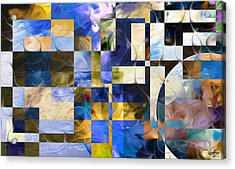 Acrylic Print featuring the painting Abstract In Blue And White by Curtiss Shaffer