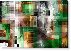 Acrylic Print featuring the painting Abstract In Green by Curtiss Shaffer