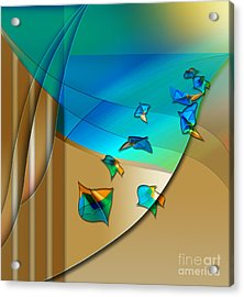 Acrylic Print featuring the digital art Abstract In Leaves by Allison Ashton