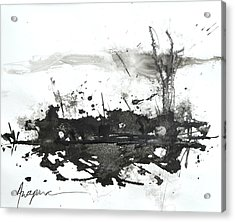 Modern Abstract Black Ink Art Acrylic Print
