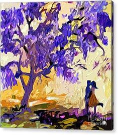 Abstract Jacaranda Tree Lovers Acrylic Print by Ginette Callaway