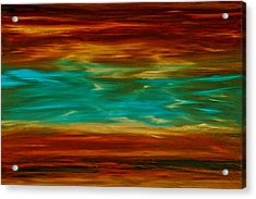 Abstract Landscape Art - Fire Over Copper Lake - By Sharon Cummings Acrylic Print