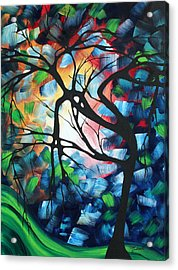 Abstract Landscape Art Original Colorful Painting Tree Maze By Madart Acrylic Print by Megan Duncanson