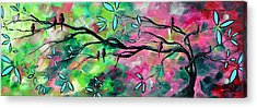 Abstract Landscape Bird And Blossoms Original Painting Birds Delight By Madart Acrylic Print