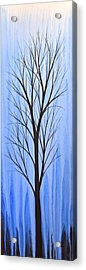 Acrylic Print featuring the painting Abstract Landscape Original Trees Art Print Painting ... Twilight Trees #4 by Amy Giacomelli
