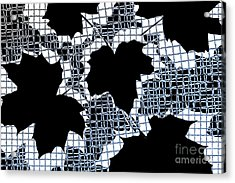 Abstract Leaf Pattern - Black White Light Blue Acrylic Print by Natalie Kinnear