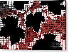 Abstract Leaf Pattern - Black White Red Acrylic Print by Natalie Kinnear