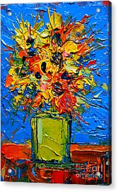 Abstract Miniature Bouquet Acrylic Print by Mona Edulesco
