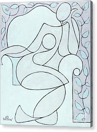 abstract modern art - Nude with Lines and Vines Acrylic Print