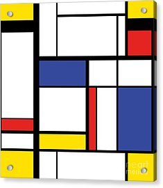 Abstract Modern Painting In Mondrian Acrylic Print by Lars Poyansky