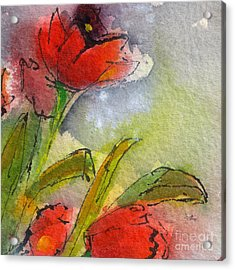 Abstract Modern Red Tulips Watercolor Acrylic Print