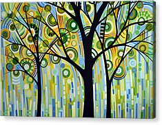 Abstract Modern Tree Landscape Spring Rain By Amy Giacomelli Acrylic Print by Amy Giacomelli