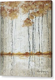 Abstract Neutral Landscape Pond Reflection Painting Mystified Dreams I By Megan Ducanson Acrylic Print by Megan Duncanson
