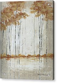 Abstract Neutral Landscape Pond Reflection Painting Mystified Dreams II By Megan Ducanson Acrylic Print by Megan Duncanson
