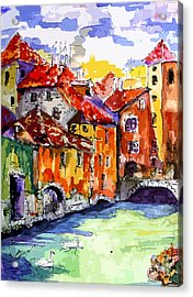 Acrylic Print featuring the painting Abstract Old Houses In Annecy France by Ginette Callaway
