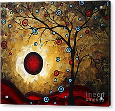 Abstract Original Gold Textured Painting Frosted Gold By Madart Acrylic Print by Megan Duncanson