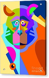 Abstract Original Monkey Drawing In Acrylic Print