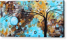 Abstract Painting Chocolate Brown Whimsical Landscape Art Baby Blues By Madart Acrylic Print by Megan Duncanson