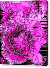 Abstract Pink Rose Mosaic Acrylic Print by Saundra Myles