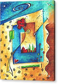 Abstract Pop Art Landscape Floral Original Painting Joyful World By Madart Acrylic Print by Megan Duncanson