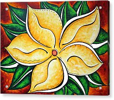 Abstract Pop Art Yellow Plumeria Flower Tropical Passion By Madart Acrylic Print by Megan Duncanson