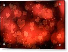 Abstract Red Hearts Acrylic Print by Amanda Elwell