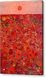 Abstract Red Poppies Field At Sunset Acrylic Print by Ana Maria Edulescu