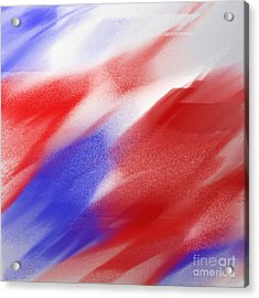 Abstract Red White And Blue 1 Square Acrylic Print