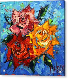 Abstract Roses On Blue Acrylic Print by Mona Edulesco