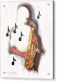 Abstract Saxophone Player Acrylic Print by Tom Conway