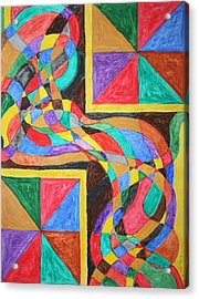 Acrylic Print featuring the painting Alien By Windows by Stormm Bradshaw