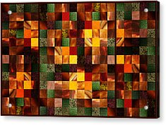 Abstract Squares Triptych Gentle Brown Acrylic Print by Irina Sztukowski