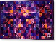 Abstract Squares Triptych Gentle Purple Acrylic Print by Irina Sztukowski
