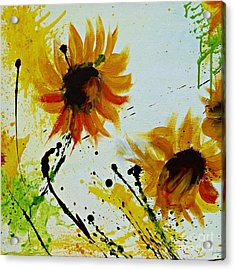 Abstract Sunflowers 2 Acrylic Print by Ismeta Gruenwald